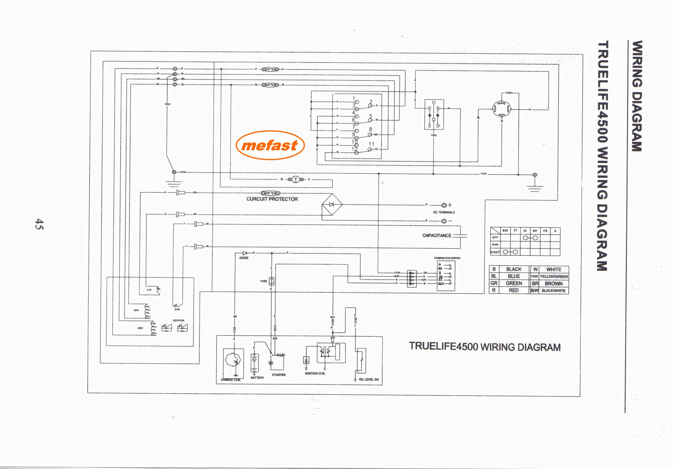Truelife 4500 Generator Wire Diagram