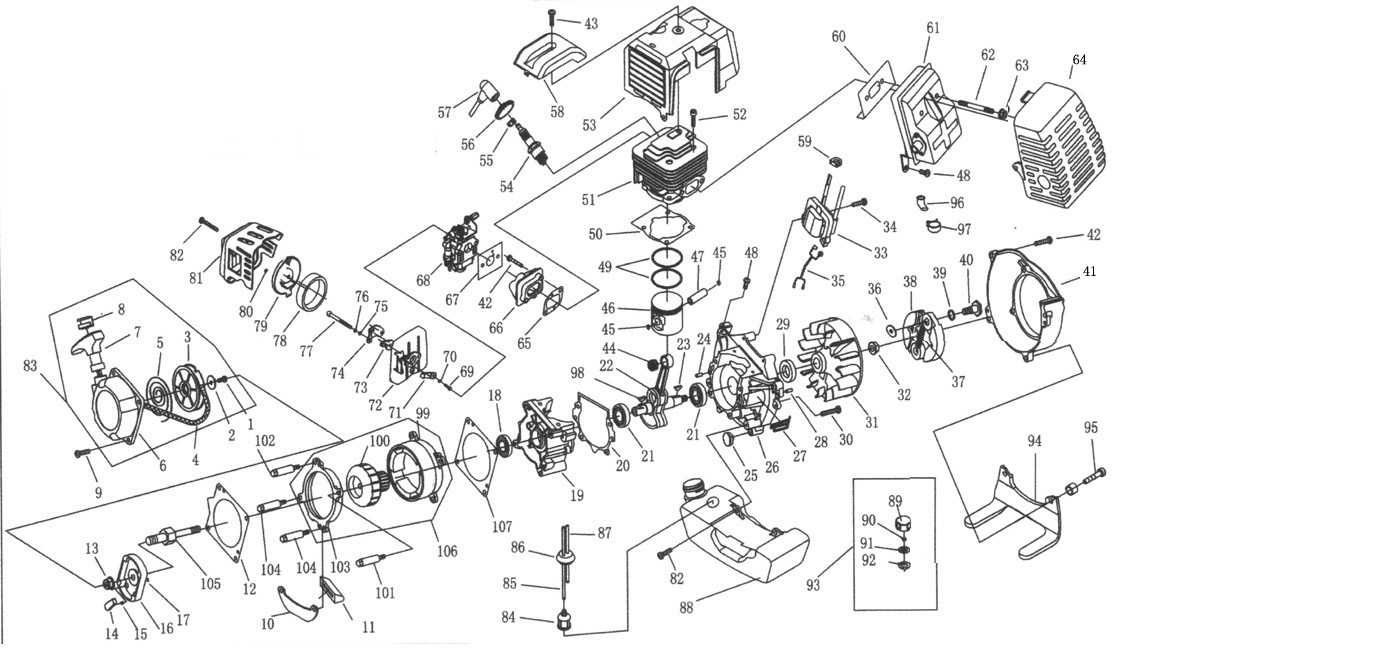49cc Engine Parts 13 Cat Diagram