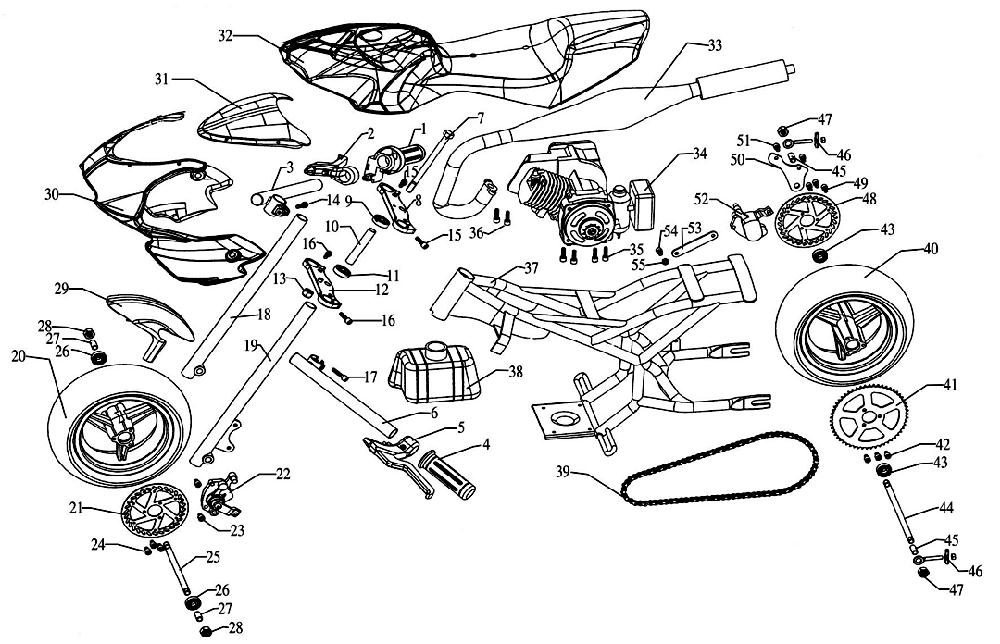 T1840397 Wiring Diagram Electric Start Dtr 125 as well Honda 50cc Engine Exploded View in addition Vespa Scooter Wiring Diagram further Fuel System Group 8 20 143 likewise Razor Mini Bike Wiring Diagram. on 49cc engine starter wiring diagram