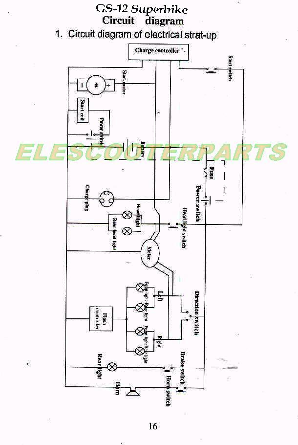 Gs 12ele service schematics gas and electric scooters,two cycle four cycle 49cc mini chopper wiring harness at gsmportal.co